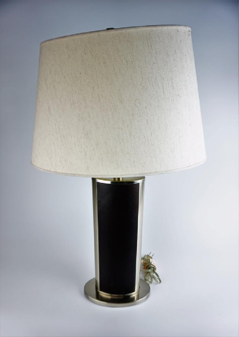 PAIR MODERN STAINLESS & LEATHER TABLE LAMPS - 2