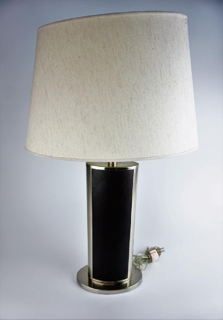 PAIR MODERN STAINLESS & LEATHER TABLE LAMPS - 3