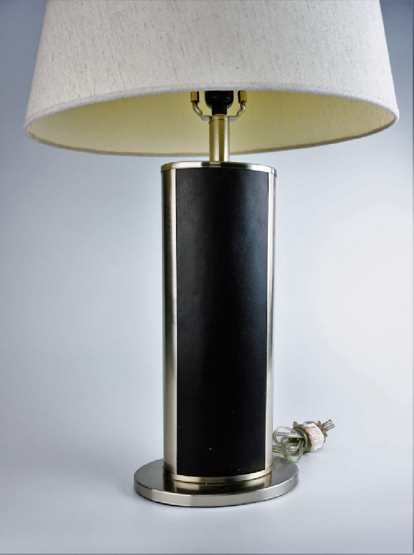 PAIR MODERN STAINLESS & LEATHER TABLE LAMPS - 4