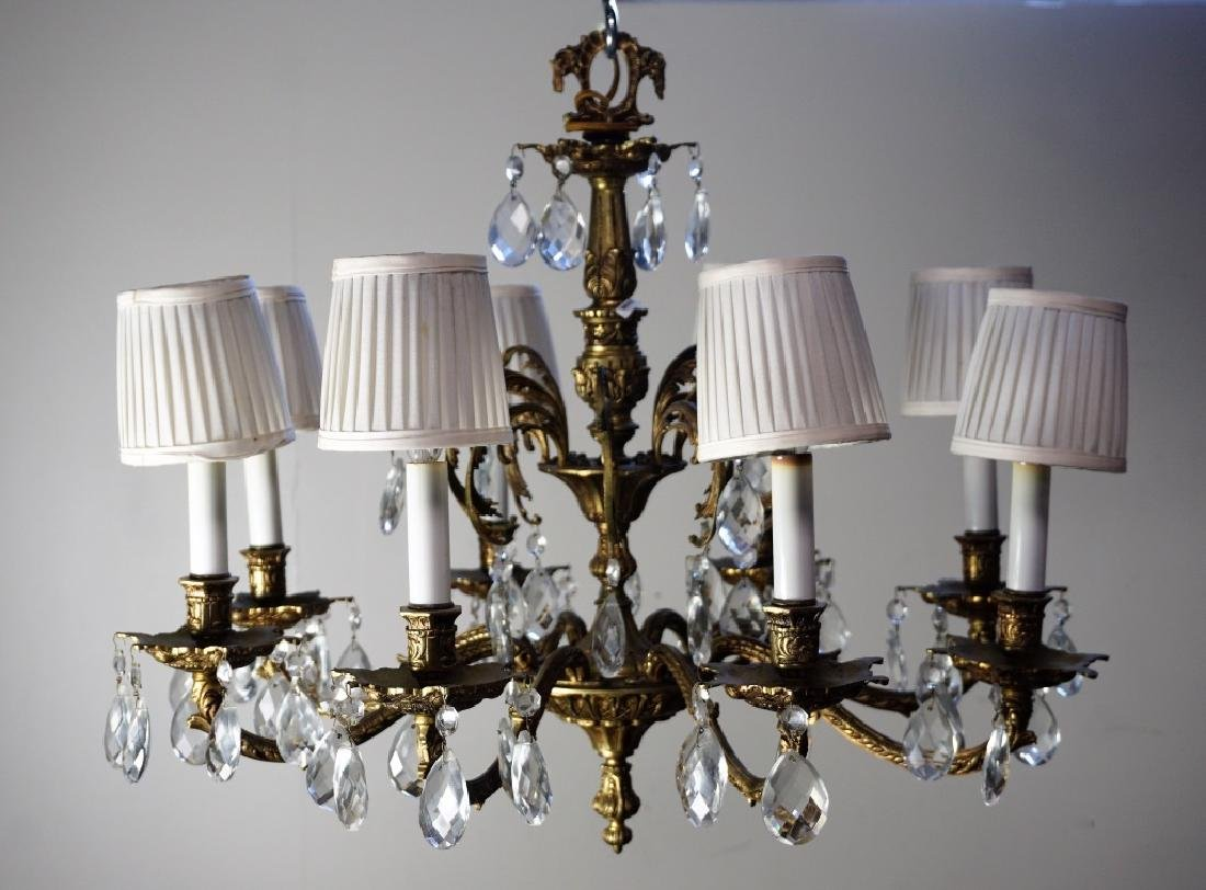 19th CENT FRENCH GILT BRASS & CRYSTAL CHANDELIER