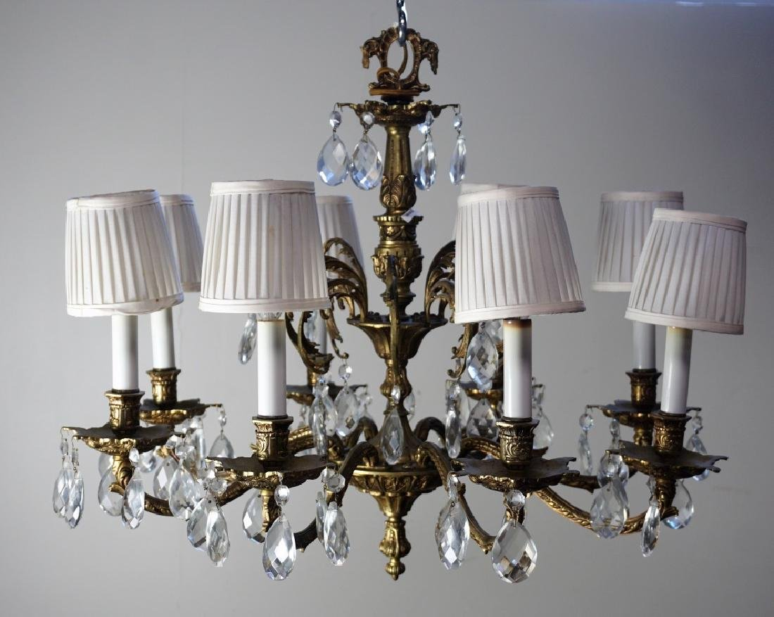 19th CENT FRENCH GILT BRASS & CRYSTAL CHANDELIER - 2