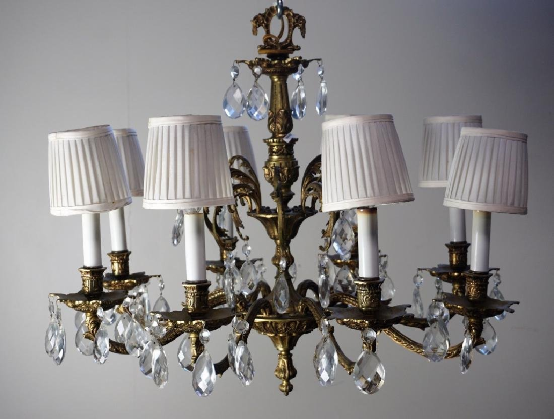 19th CENT FRENCH GILT BRASS & CRYSTAL CHANDELIER - 3