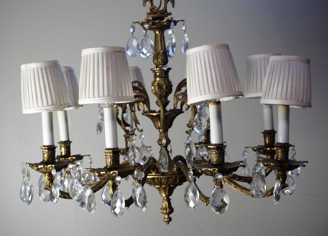19th CENT FRENCH GILT BRASS & CRYSTAL CHANDELIER - 4