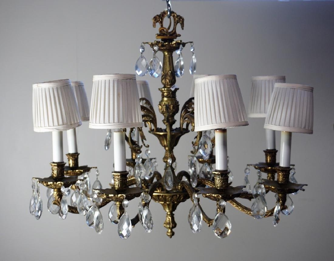 19th CENT FRENCH GILT BRASS & CRYSTAL CHANDELIER - 5