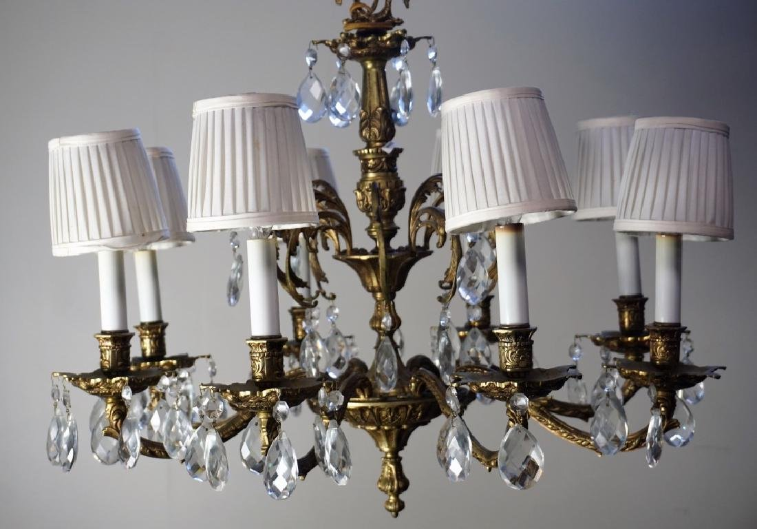 19th CENT FRENCH GILT BRASS & CRYSTAL CHANDELIER - 6
