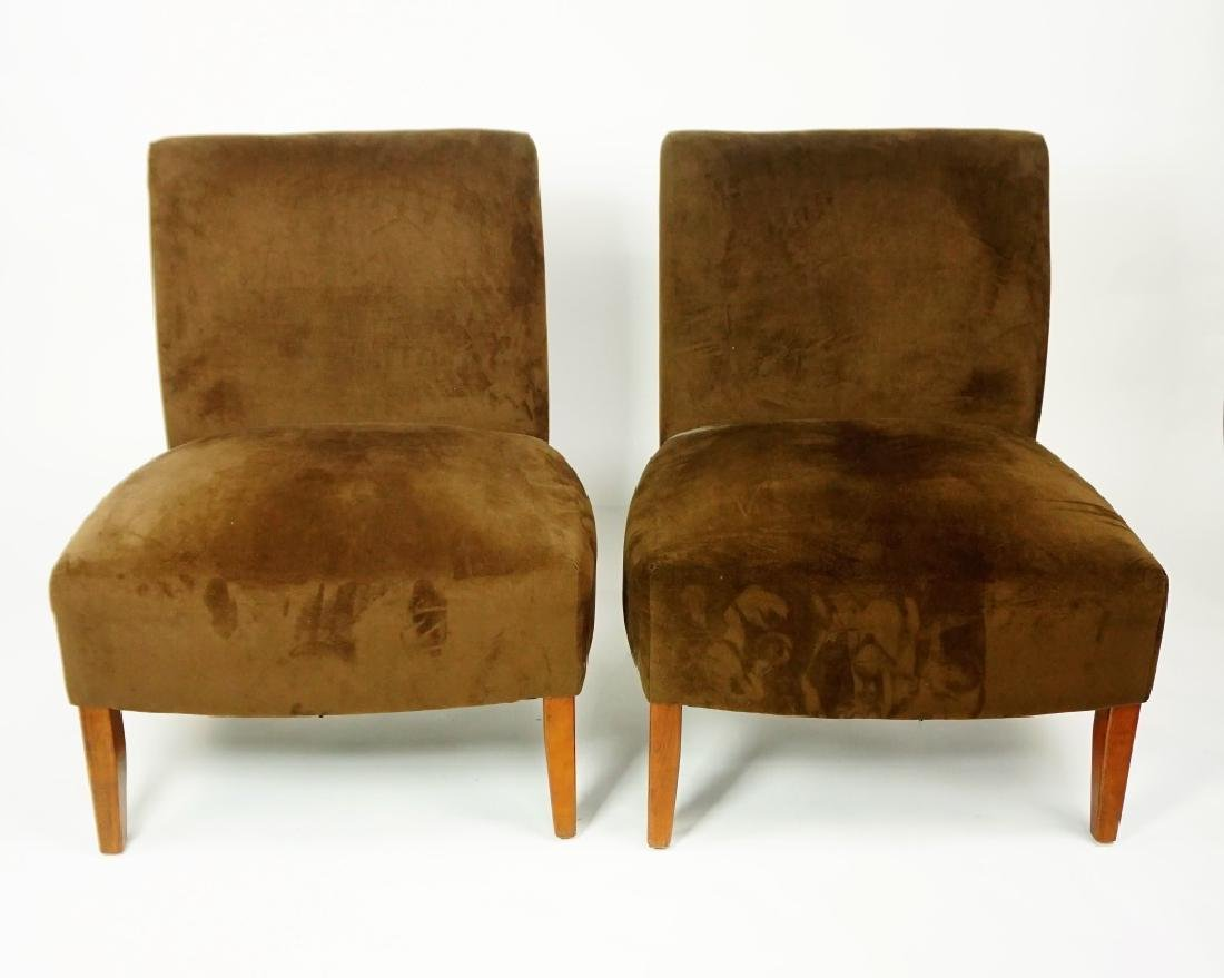 PAIR BROWN ULTRA SUADE OCCATIONAL CHAIR
