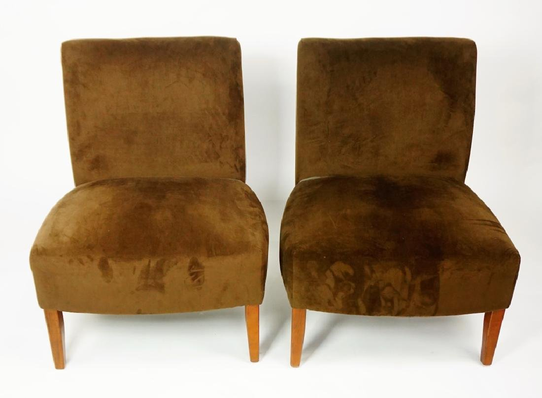 PAIR BROWN ULTRA SUADE OCCATIONAL CHAIR - 2