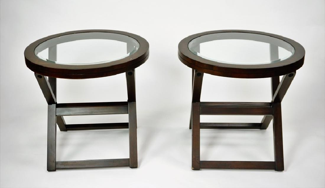 (2) ROUND GLASSTOP TABLES