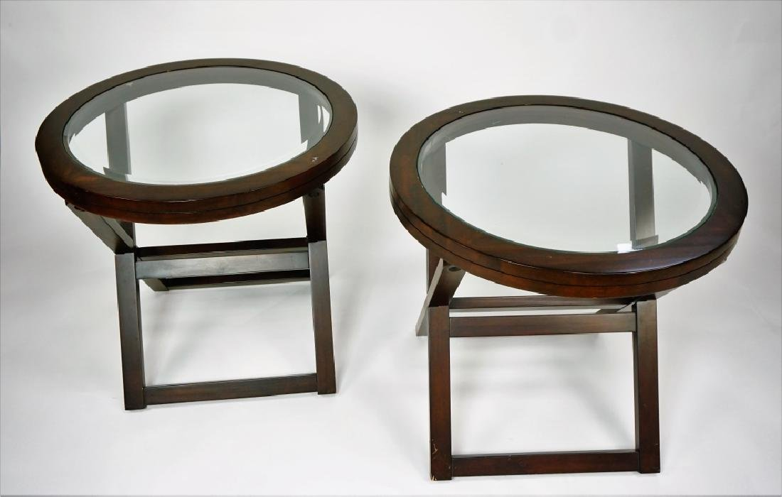 (2) ROUND GLASSTOP TABLES - 2