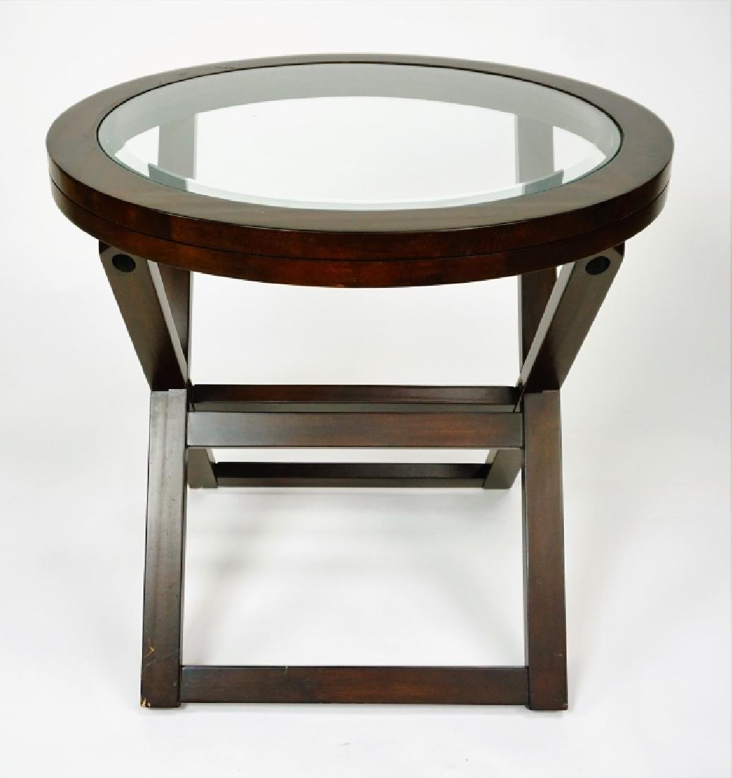 (2) ROUND GLASSTOP TABLES - 3