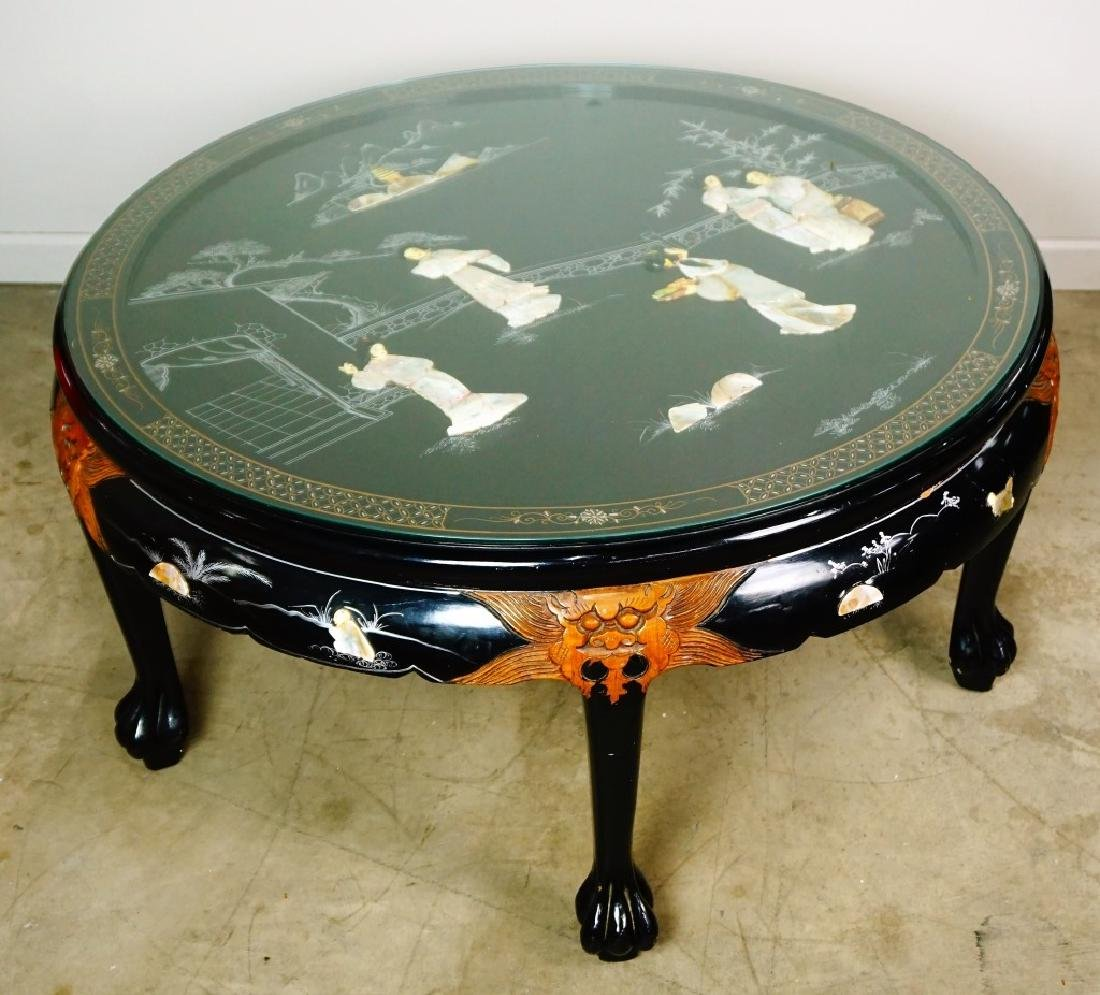 ROUND ORIENTAL BLACK COFFEE TABLE