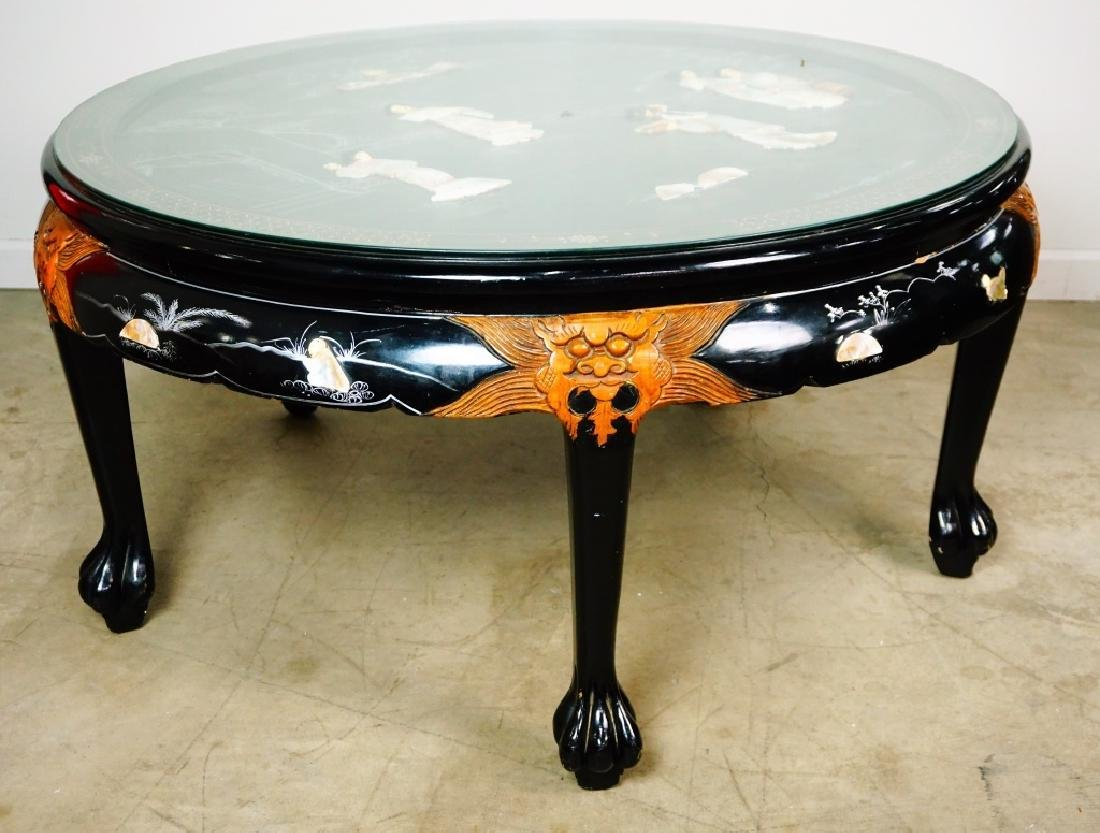 ROUND ORIENTAL BLACK COFFEE TABLE - 2