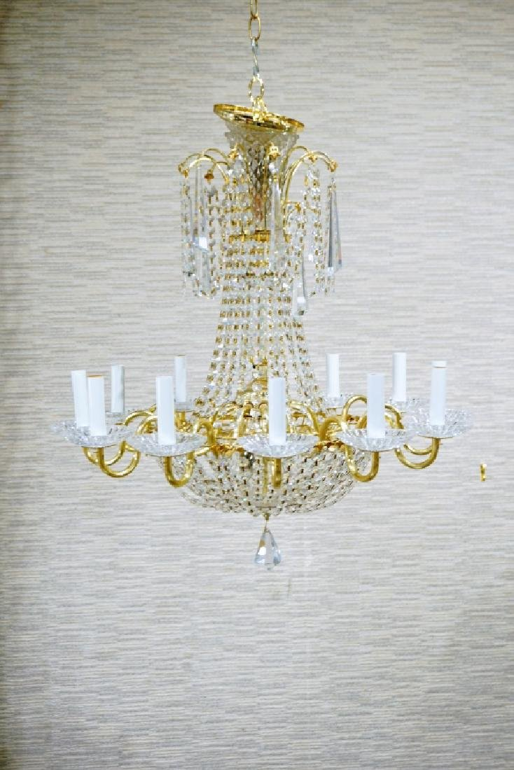 12-LIGHT CRYSTAL & BRASS CHANDELIER