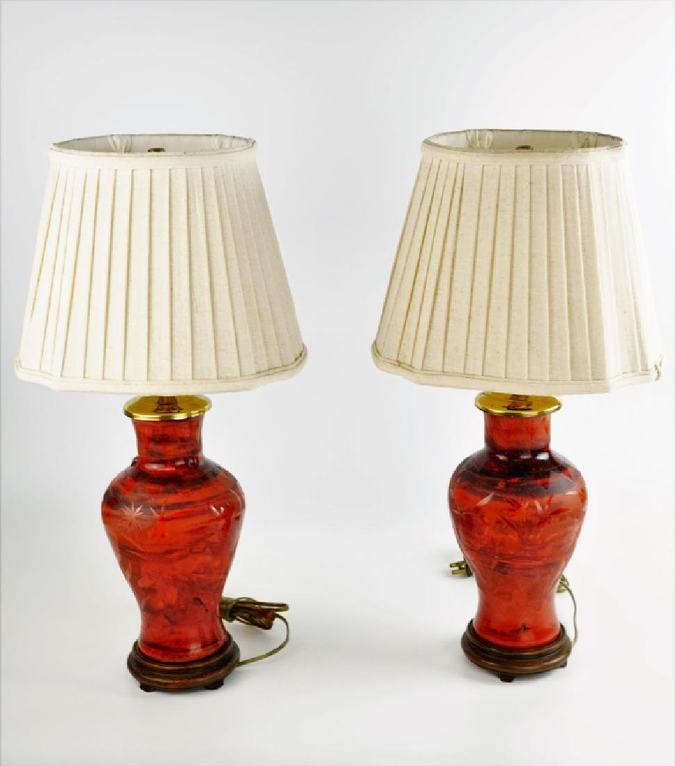 (2) PORCELAIN VASE LAMPS