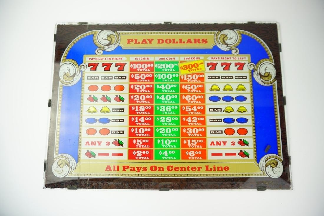 VINTAGE SLOT MACHINE GLASS $1 PLAY