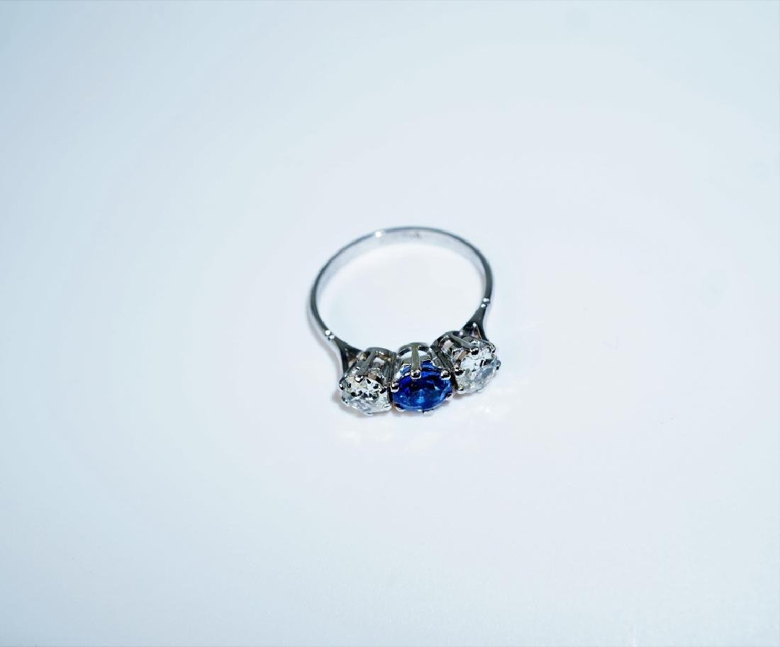 PLATINUM DIAMOND & SAPPHIRE FASHION RING - 2