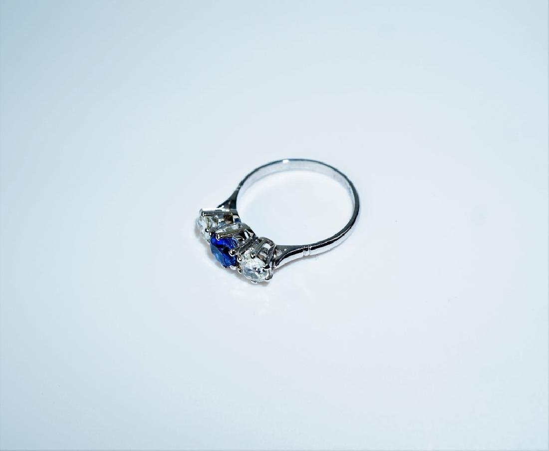 PLATINUM DIAMOND & SAPPHIRE FASHION RING - 3