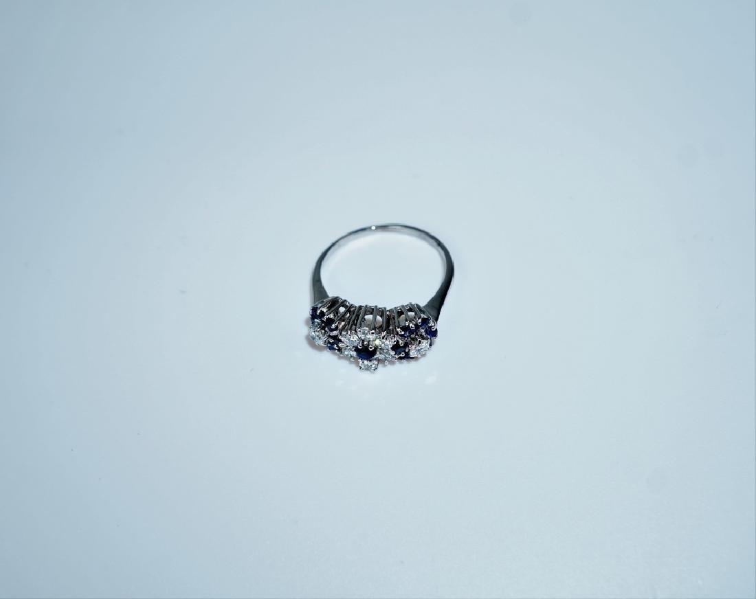 14K WHITE GOLD DIAMOND & SAPPHIRE FASHION RING - 2