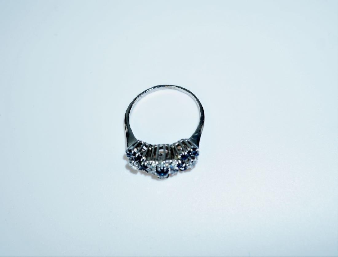 14K WHITE GOLD DIAMOND & SAPPHIRE FASHION RING - 4