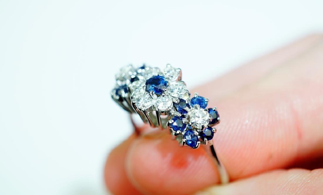 14K WHITE GOLD DIAMOND & SAPPHIRE FASHION RING - 5
