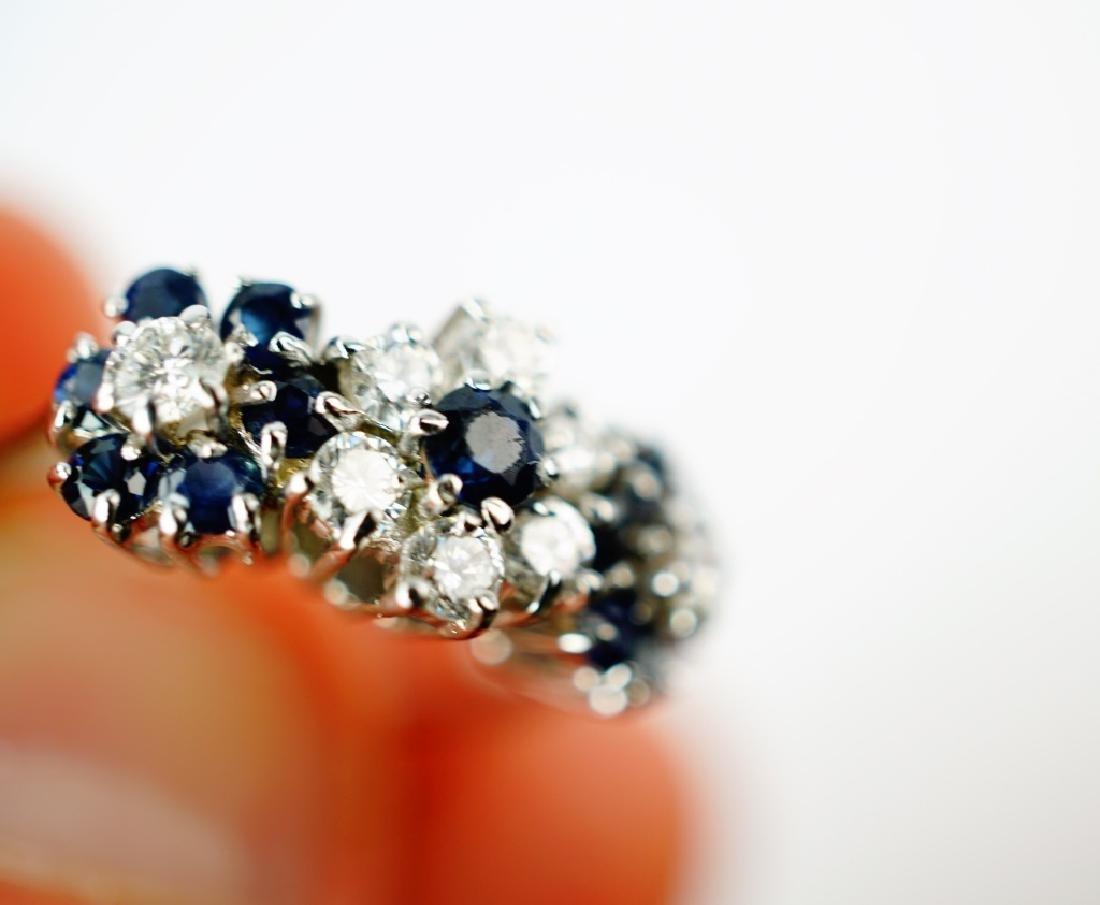 14K WHITE GOLD DIAMOND & SAPPHIRE FASHION RING - 6