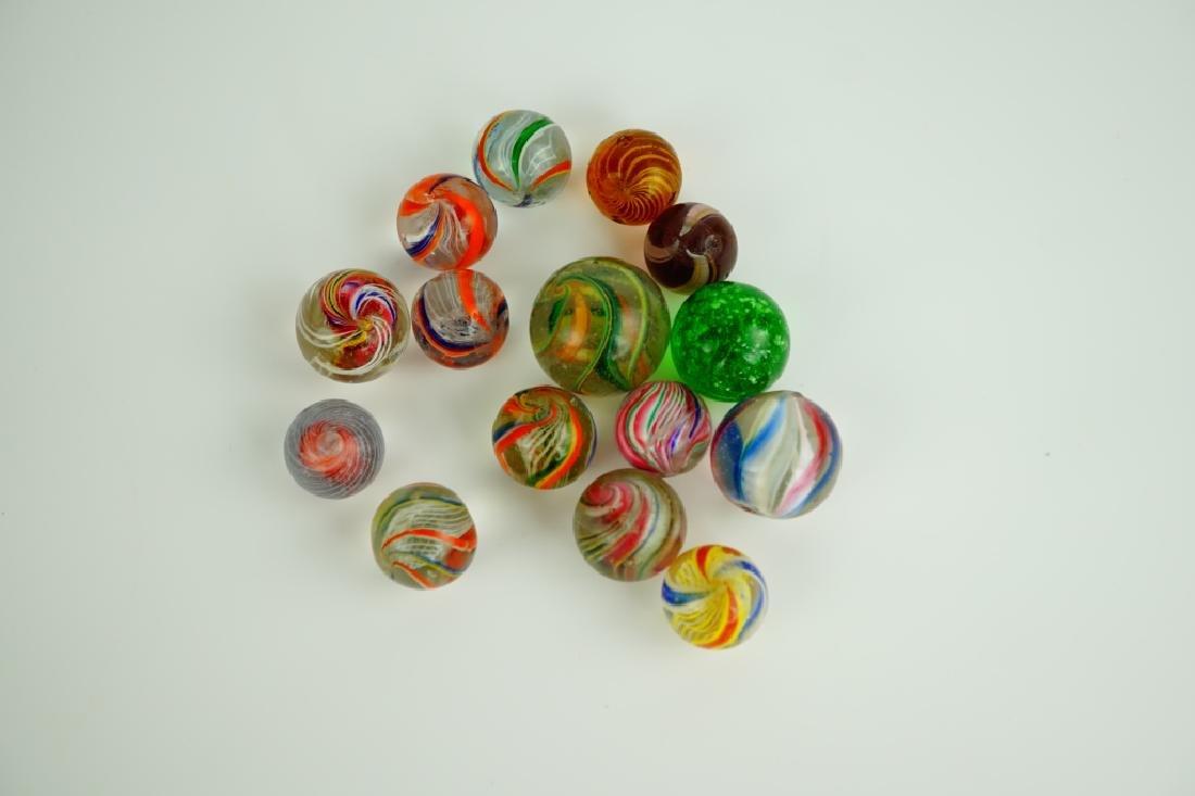 (15) ASSORTED GERMAN HANDMADE GLASS MARBLES