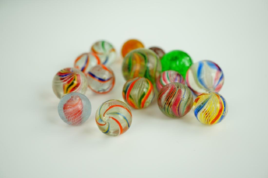(15) ASSORTED GERMAN HANDMADE GLASS MARBLES - 5
