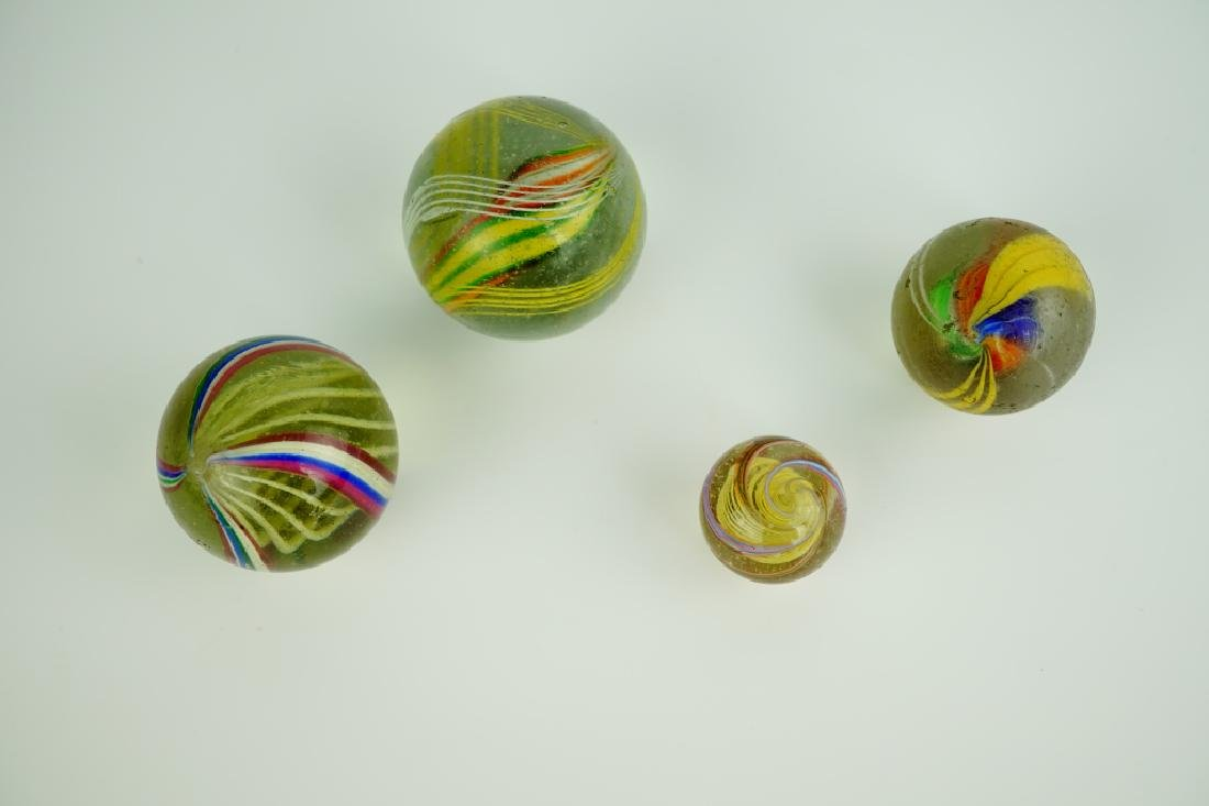 (4) GERMAN HANDMADE SWIRLED GLASS MARBLES