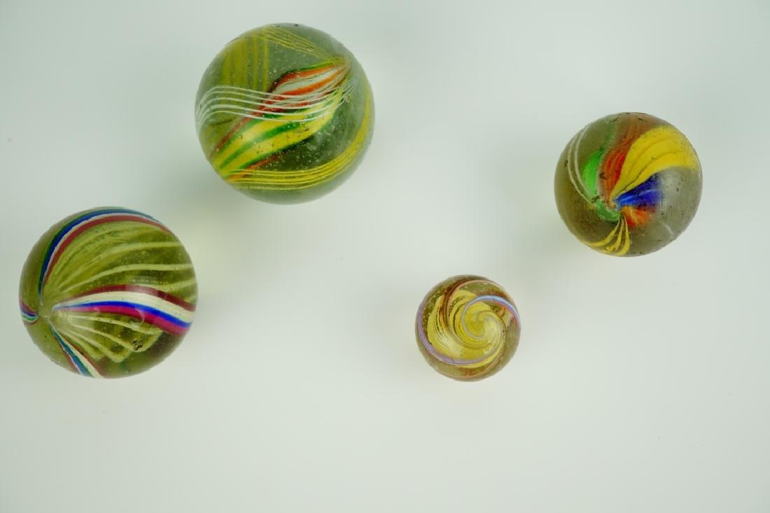(4) GERMAN HANDMADE SWIRLED GLASS MARBLES - 3