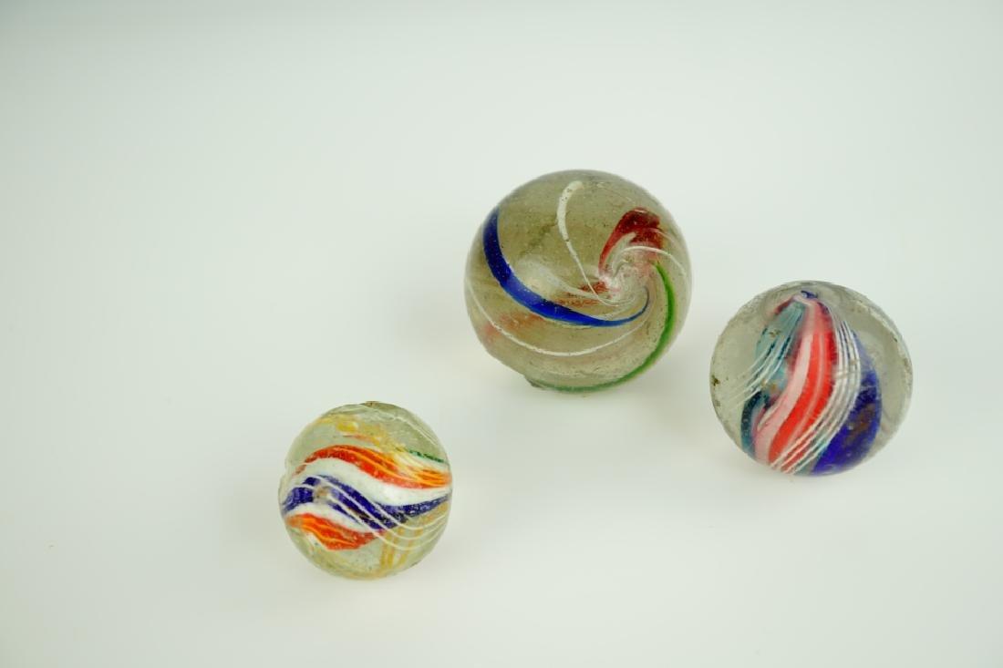 (3) GERMAN HANDMADE SWIRLED GLASS MARBLES