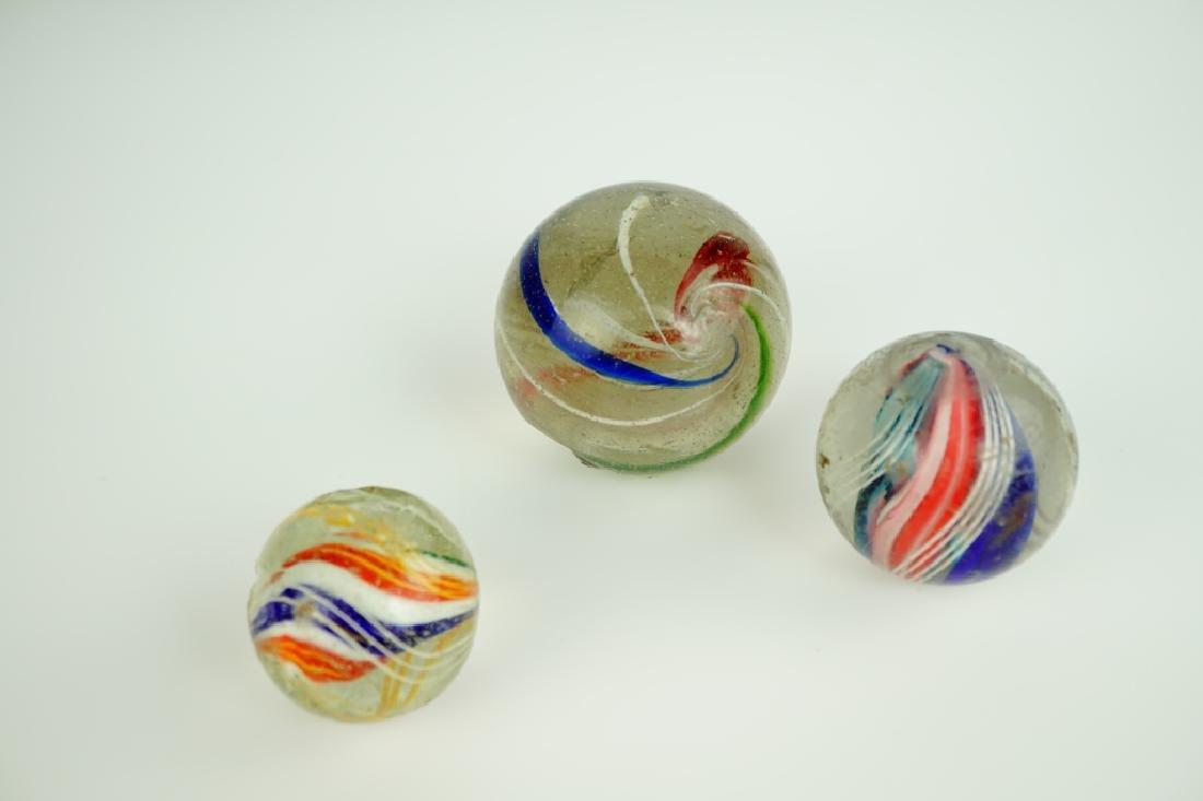 (3) GERMAN HANDMADE SWIRLED GLASS MARBLES - 2