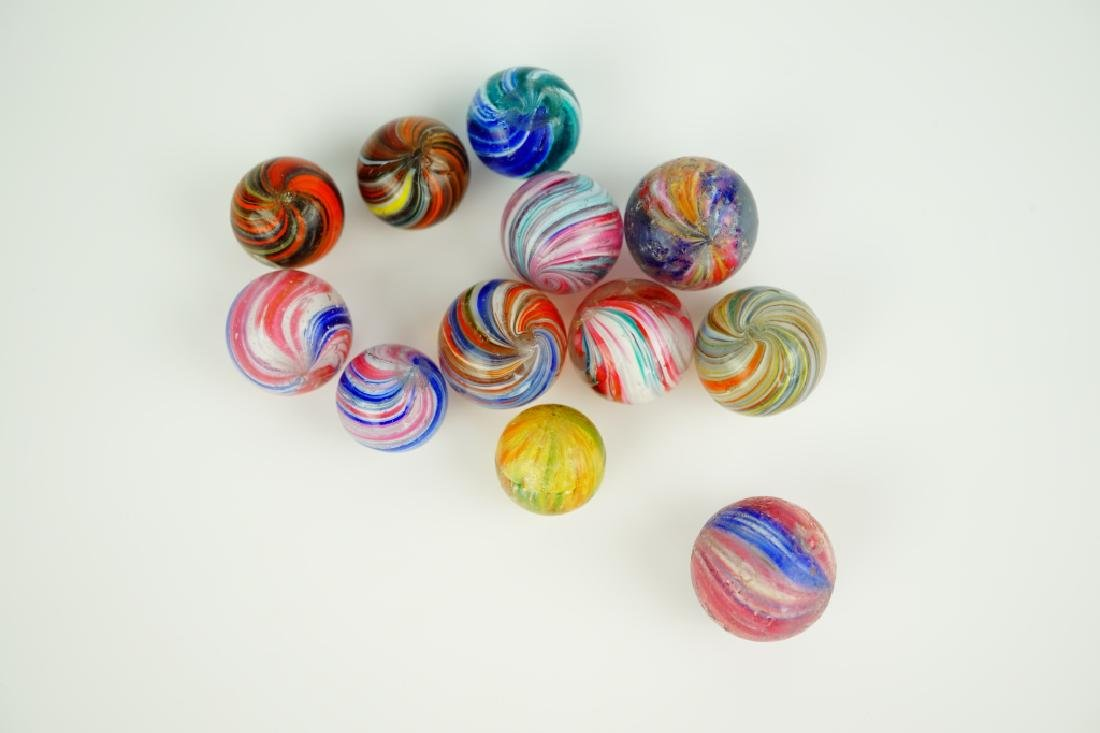 (12) ASSORTED GERMAN HANDMADE GLASS MARBLES - 4