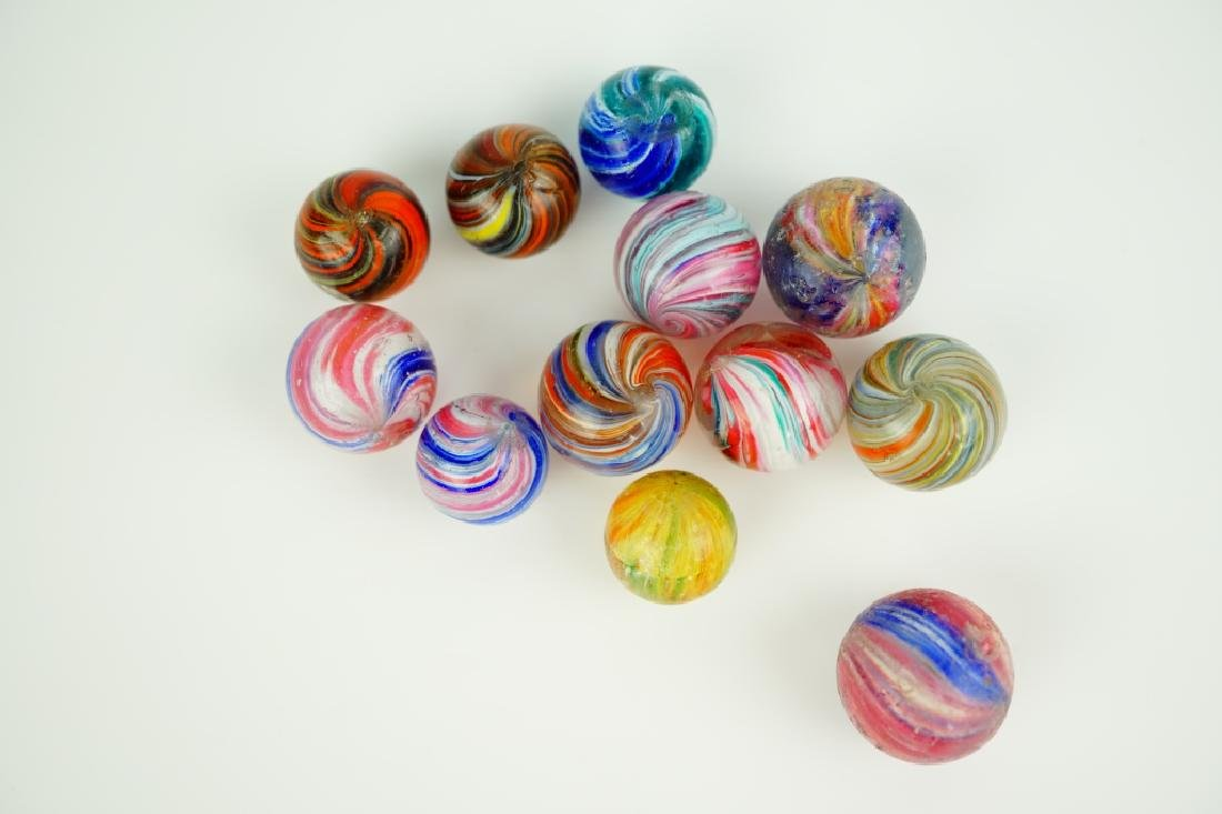 (12) ASSORTED GERMAN HANDMADE GLASS MARBLES - 5