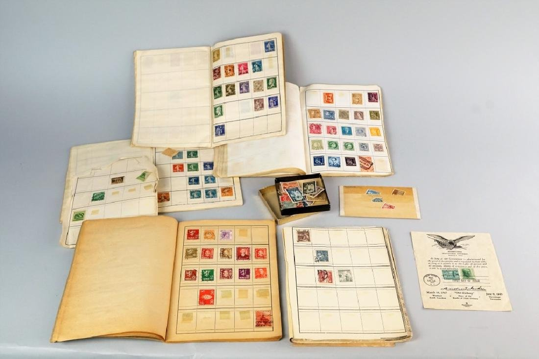 ASSORTED ANTIQUE FOREIGN AND DOMESTIC STAMPS