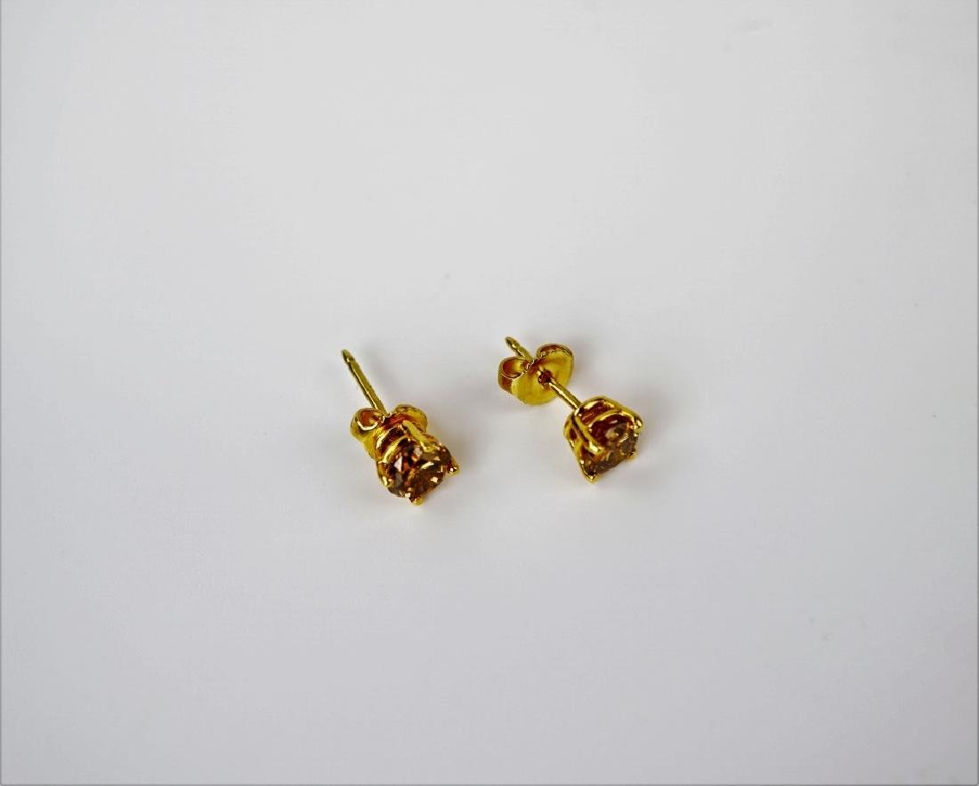 18K YELLOW GOLD COGNAC DIAMOND EARRINGS
