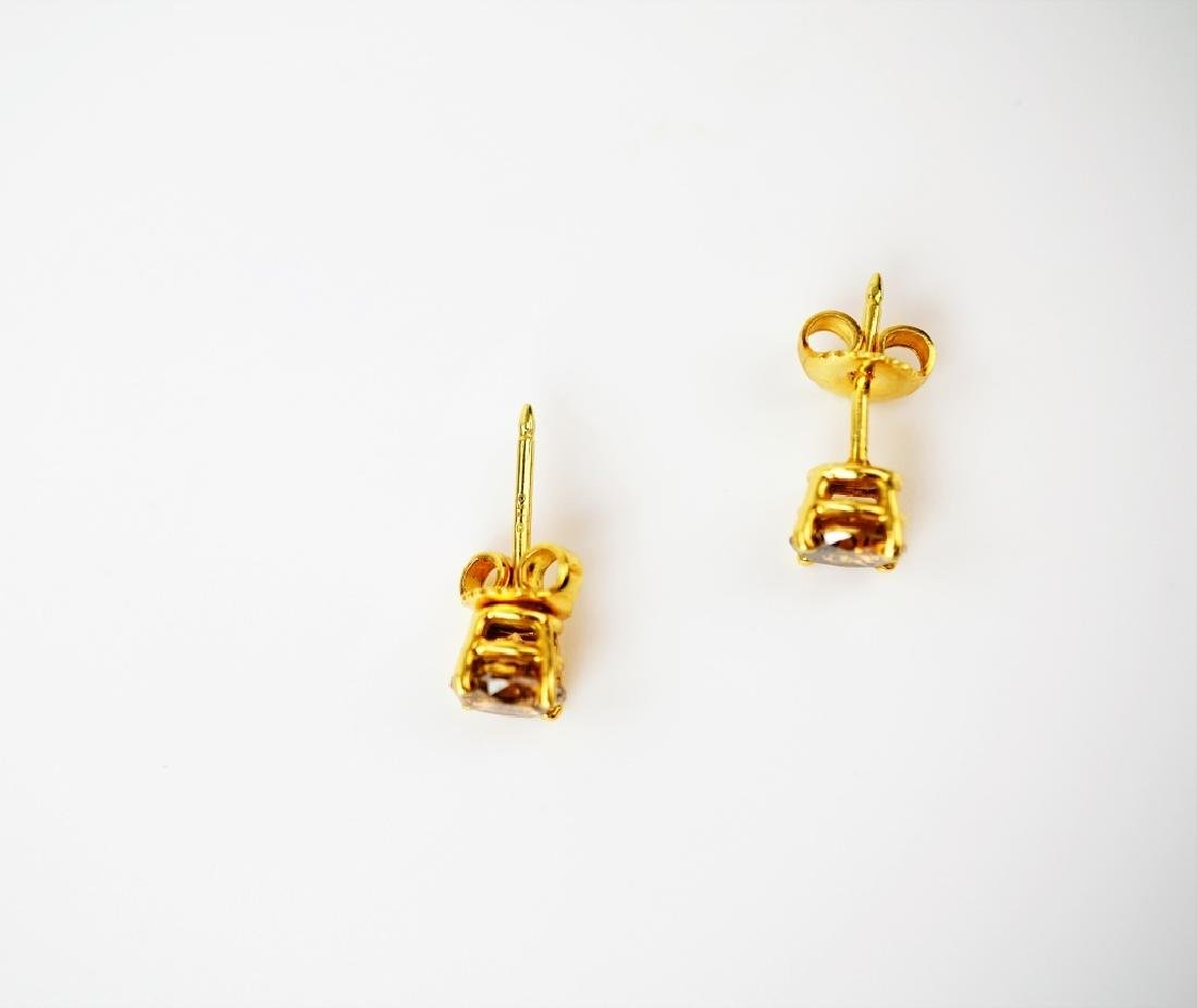 18K YELLOW GOLD COGNAC DIAMOND EARRINGS - 2