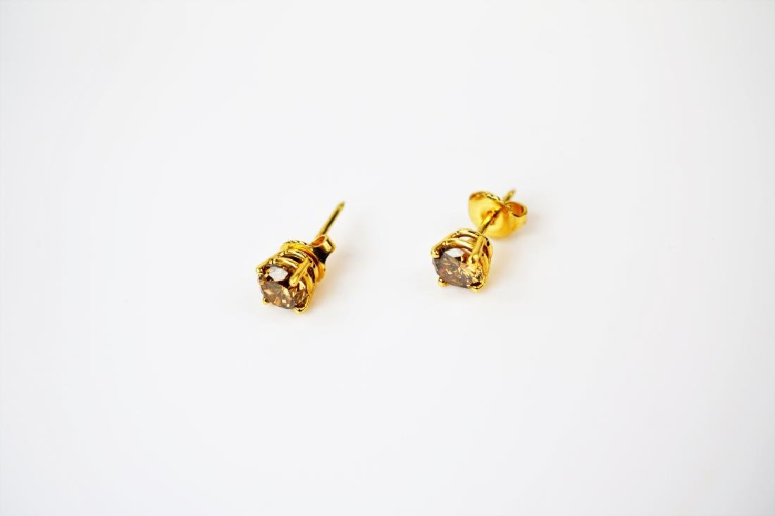 18K YELLOW GOLD COGNAC DIAMOND EARRINGS - 3
