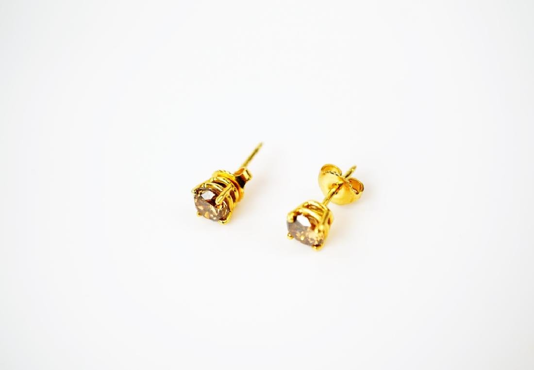 18K YELLOW GOLD COGNAC DIAMOND EARRINGS - 4
