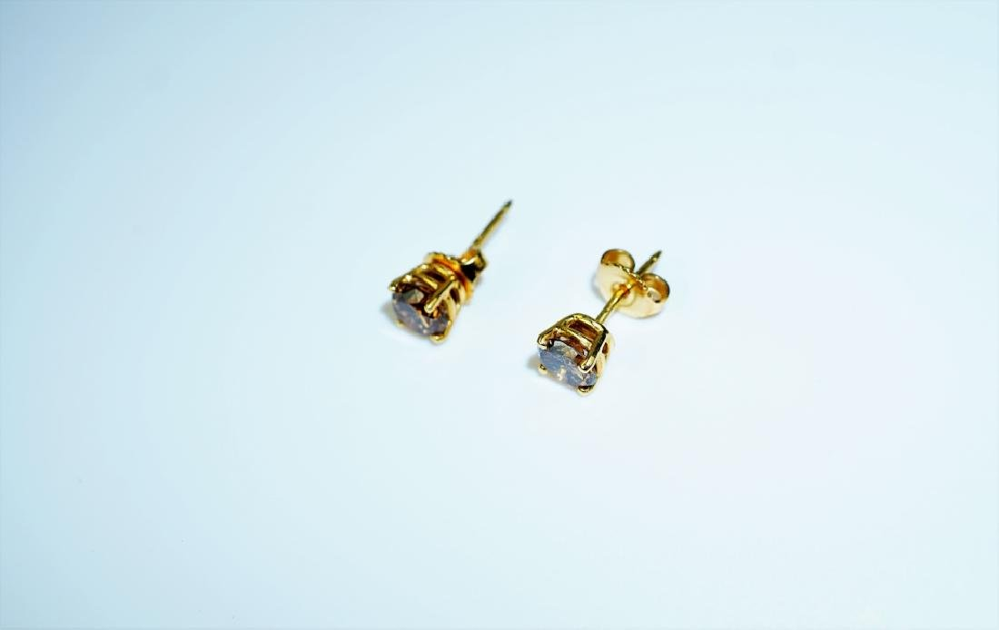 18K YELLOW GOLD COGNAC DIAMOND EARRINGS - 5