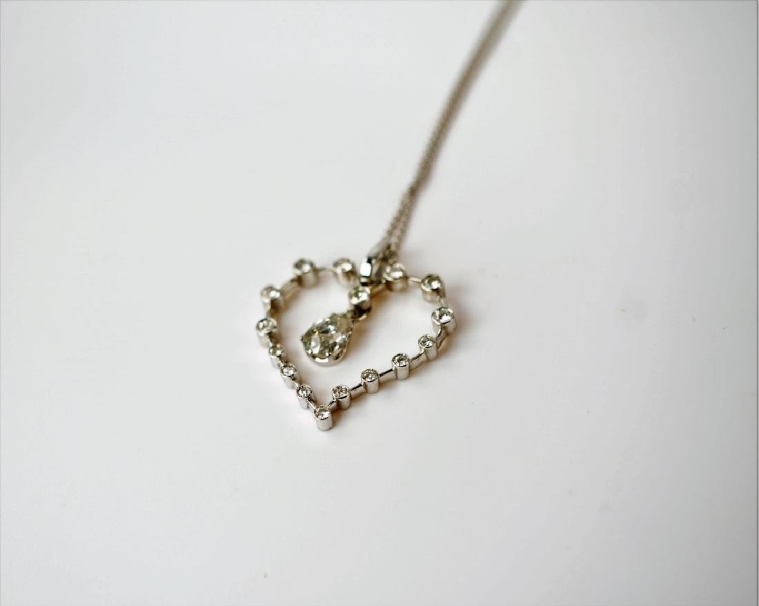 WHITE GOLD DIAMOND HEART PENDANT & NECKLACE - 2