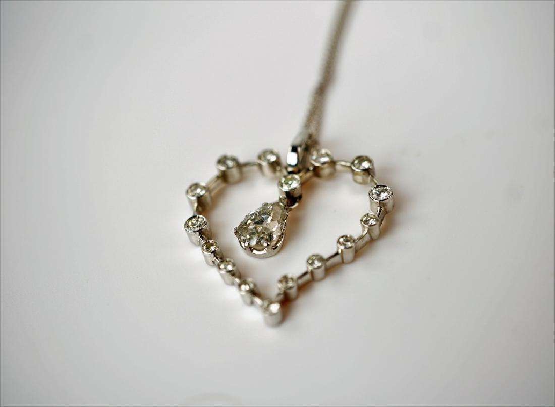 WHITE GOLD DIAMOND HEART PENDANT & NECKLACE - 4