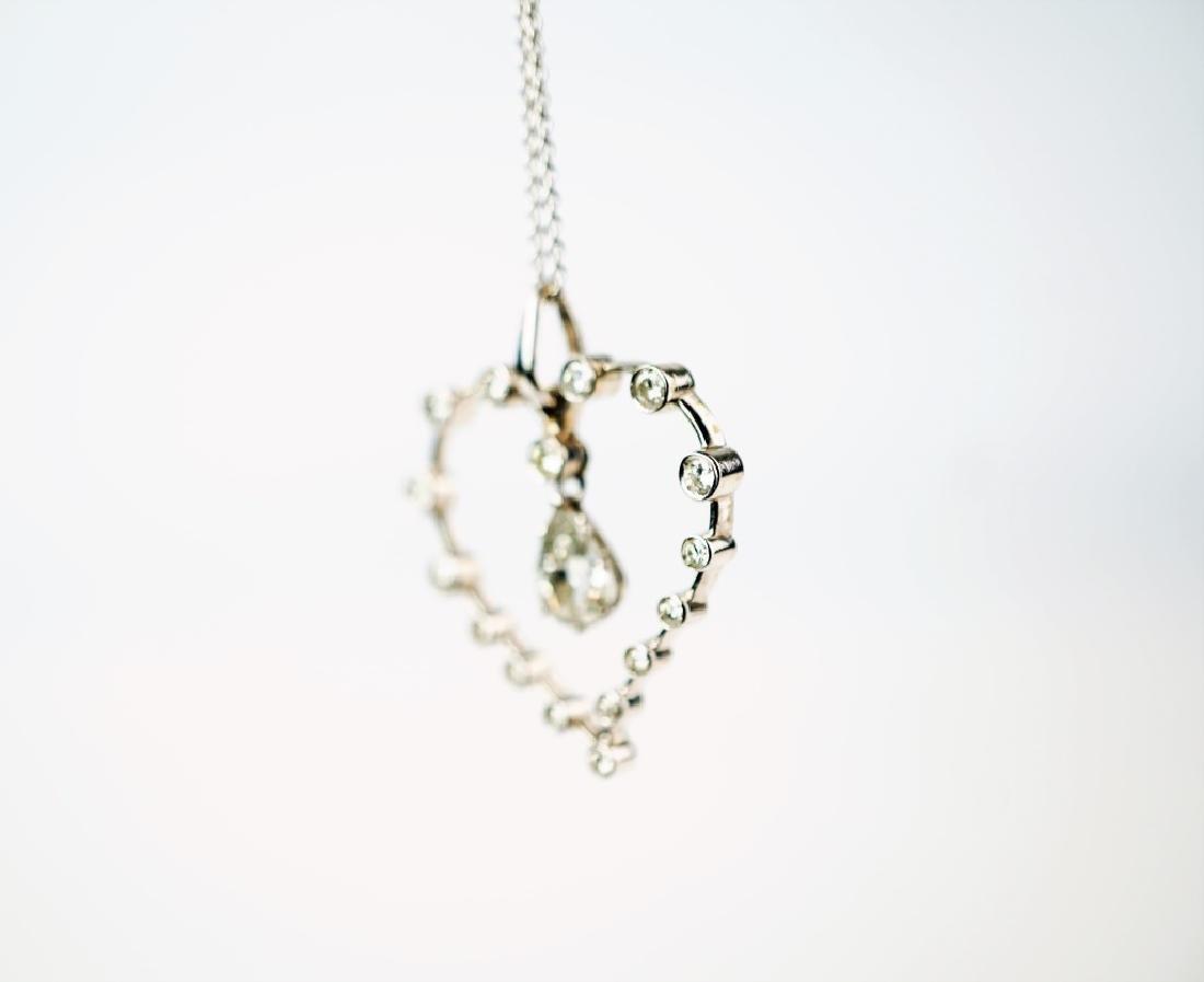 WHITE GOLD DIAMOND HEART PENDANT & NECKLACE - 5
