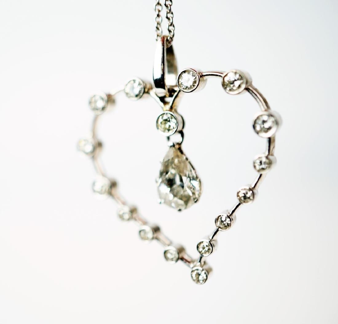 WHITE GOLD DIAMOND HEART PENDANT & NECKLACE - 6