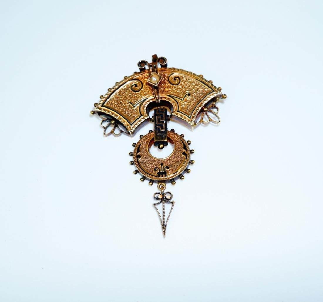 18K YELLOW GOLD VICTORIAN BROOCH - 2
