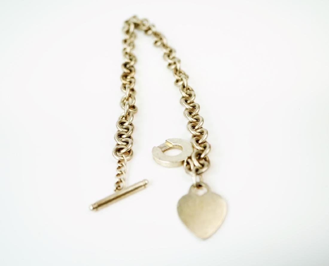 TIFFANY & CO STERLING HEART PENDANT LINK NECKLACE