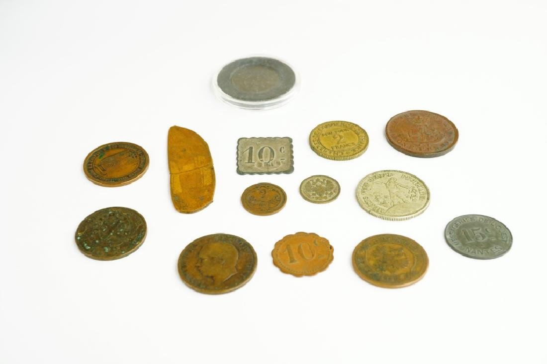 (14) ASSORTED US & FOREIGN COINS & TOKENS