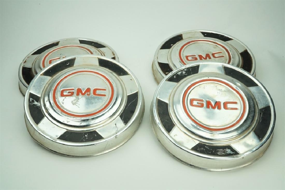 (4) VINTAGE GMC DOG DISH HUB CAPS