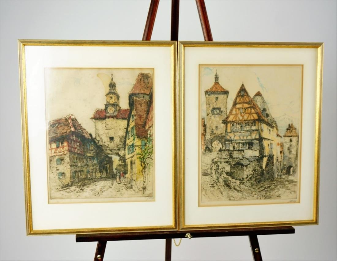 (2) EARLY 20th CENTURY HAND COLORED ENGRAVINGS