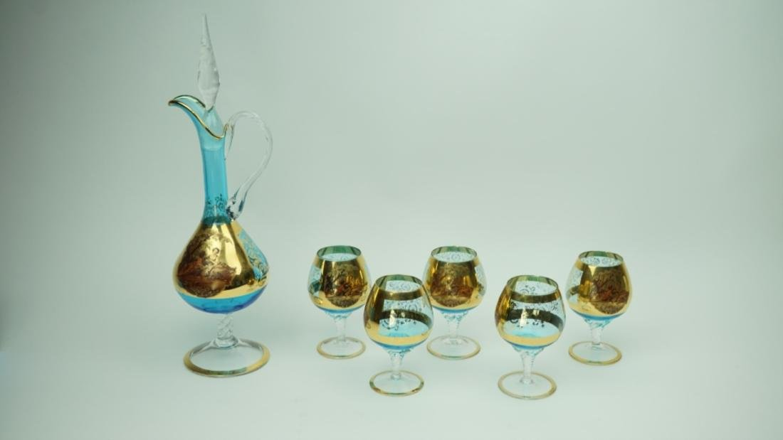 6pc BOHEMIAN PAINTED GLASS DECANTER & GLASS SET