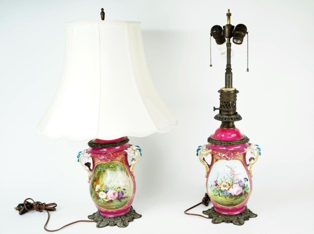 PAIR ANTIQUE PORCELAIN FLORAL DECORATED LAMPS